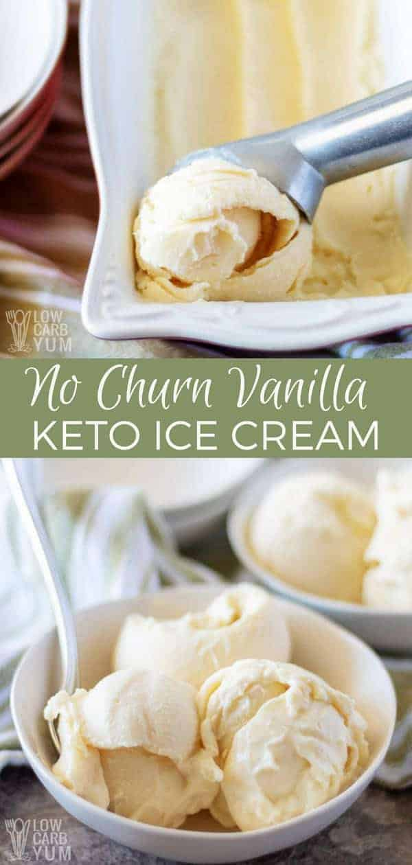 No ice cream maker at home? No problem. And if you're leading a low carb lifestyle, it is possible to make it delicious too. Just take a look at this easyvanilla keto ice cream recipe without condensed milk. #sugarfree #icecream #lowcarb #keto #ketorecipe | LowCarbYum.com