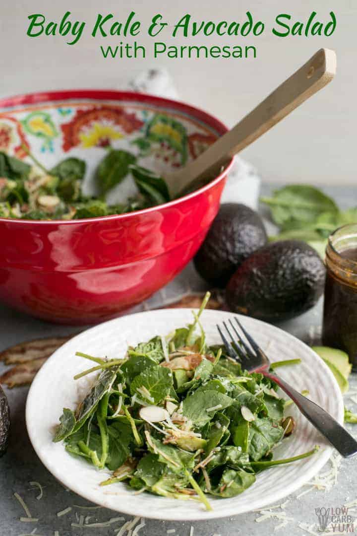 Easy baby kale avocado salad with parmesan cheese recipe