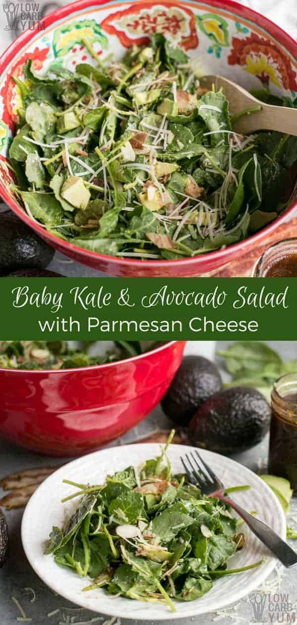 Want to make a yummy, healthy salad in a flash? This recipe for baby kale avocado salad with parmesan takes only minutes to have prepare!  #easyrecipe #kale #avocado #salad #lowcarb | LowCarbYum.com