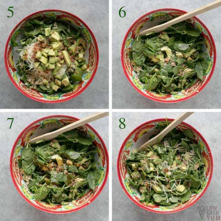 Final steps for making baby kale avocado salad with parmesan cheese