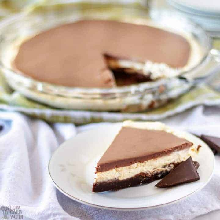 Slice of easy no bake chocolate peanut butter pie