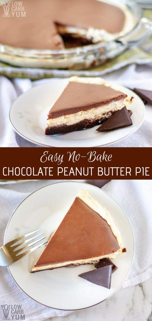 What could be more heavenly than a low carb pie that requires no oven? With this easy no bake chocolate peanut butter pie recipe, it's as easy as pie. #nobake #ketopie #lowcarb #keto #ketorecipes #peanutbutter | LowCarbYum.com