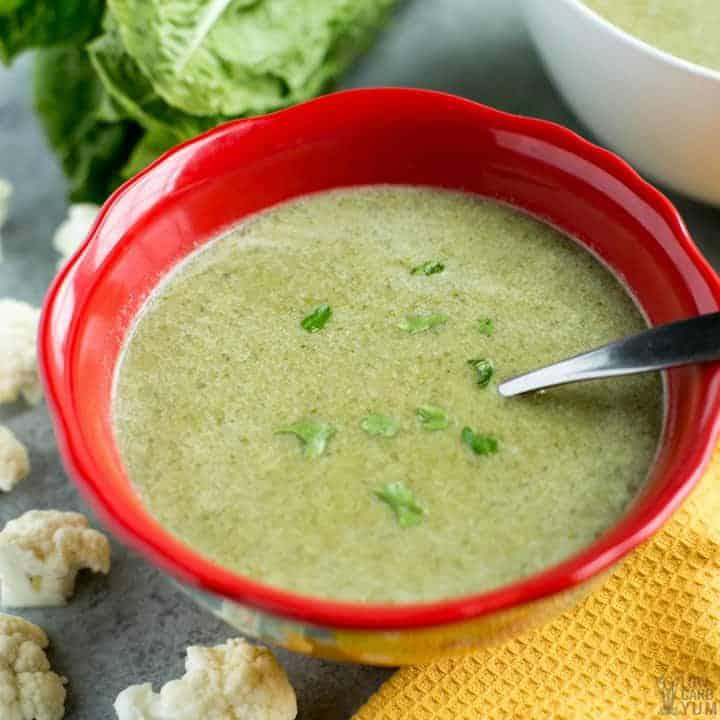 Bowl of easy romaine lettuce soup