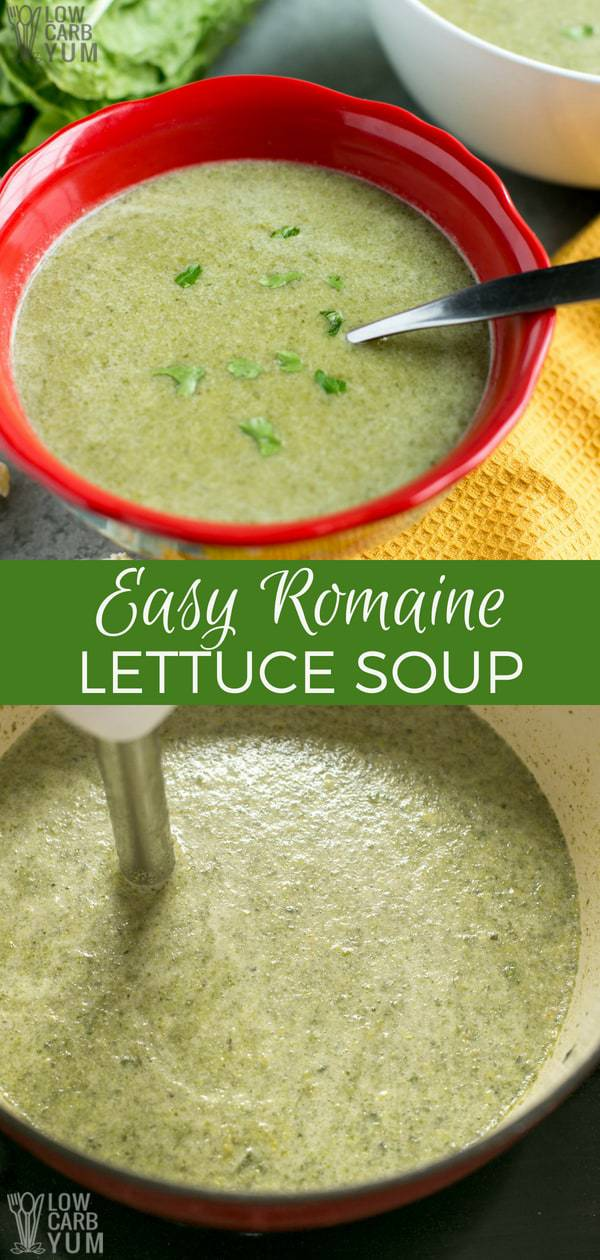 Need something hot and nourishing that you can make in just 10 minutes? This creamy, savory easy romaine lettuce soup will warm your bones on chilly nights. #easyrecipe #souprecipe #ketorecipe #lowcarb #soup | LowCarbYum.com