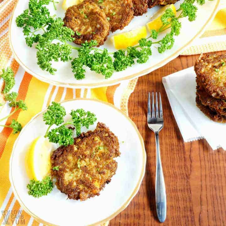 Serving easy keto crab cakes