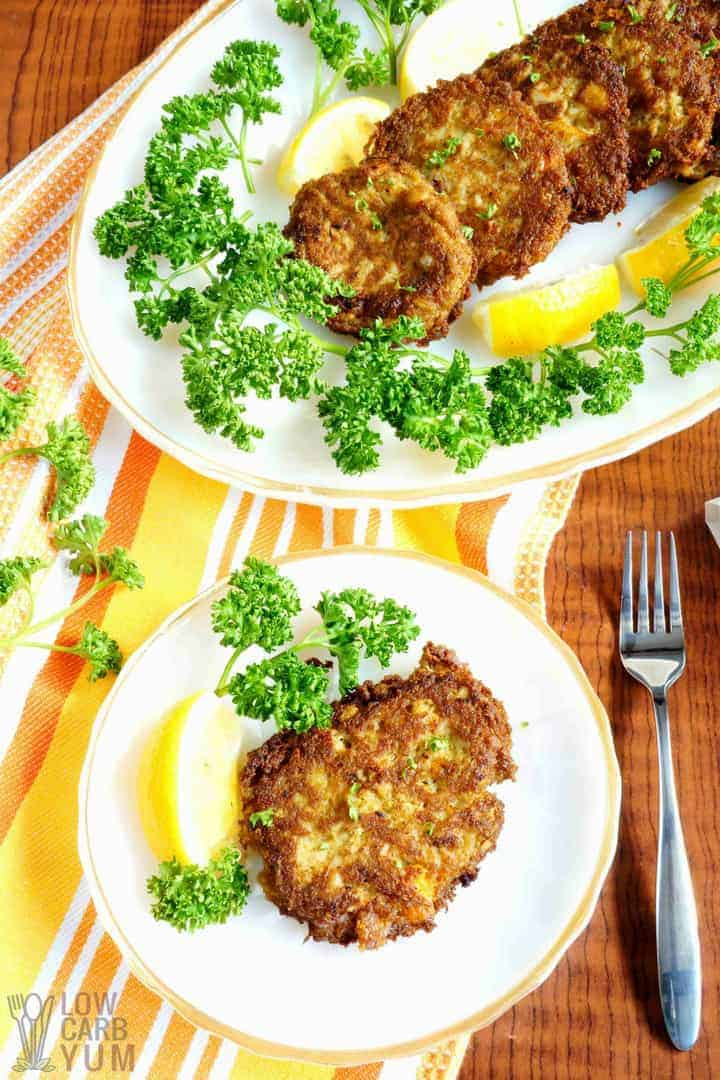 Table setting of easy keto crab cakes