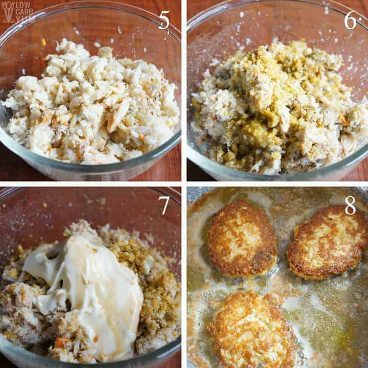 Final steps for making an easy keto crab cakes recipe