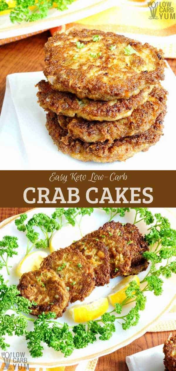 Most seafood cakes contain wheat flour. But this easy keto crab cakes recipe will delight your taste buds without the unnecessary gluten and carbs. #seafood #crab #crabcakes #lowcarb #ketorecipes #keto | LowCarbYum.com