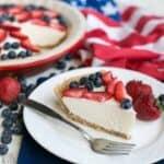 Slice of keto low carb no bake cheesecake
