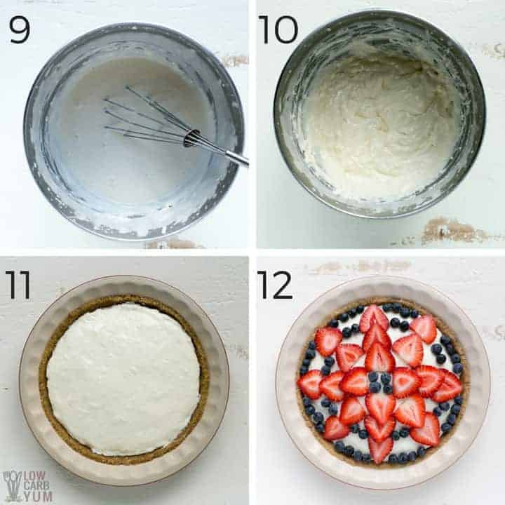 Assembling the keto low carb no bake cheesecake