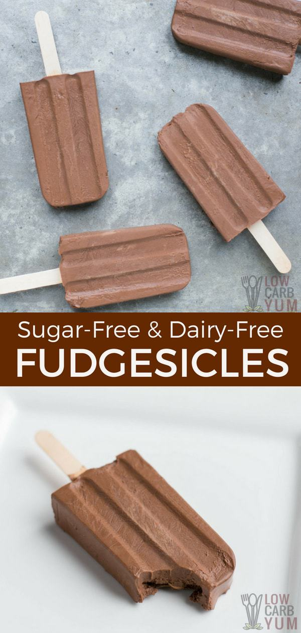 Beat the heat with some frozen treats. Here's how to makesugar free fudgesicles that taste great but only have 5 grams of net carbs. And, they are dairy-free! #lowcarb #sugarfree #keto #dairyfree #fudgesicles | LowCarbYum.com
