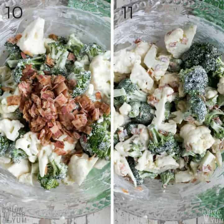 Final steps for making an Amish broccoli cauliflower salad recipe