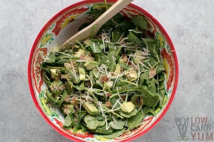 baby kale avocado parmesan mix in bowl