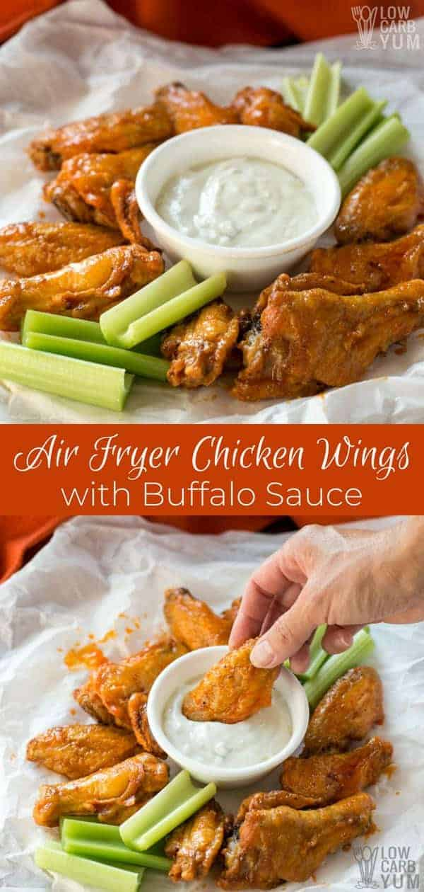Got a craving for buffalo wings but don't have time to head out to a pub or restaurant? Try these air fryer chicken wings. It'll take less than 35 minutes to make the recipe. #airfryer #chickenwings #buffalowings #buffalosauce #keto #lowcarb #appetizer | LowCarbYum.com