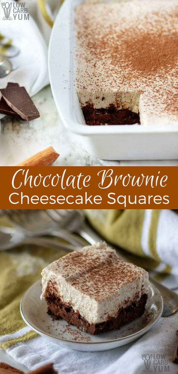 A treat that combines two delectable desserts: chocolate brownie cheesecake squares. And each square has only three grams of net carbs! #sugarfree #browniecheesecake #brownies #cheesecake #ketorecipes #lowcarb | LowCarbYum.com