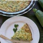 Crustless zucchini quiche recipe with shredded zucchini and cheese