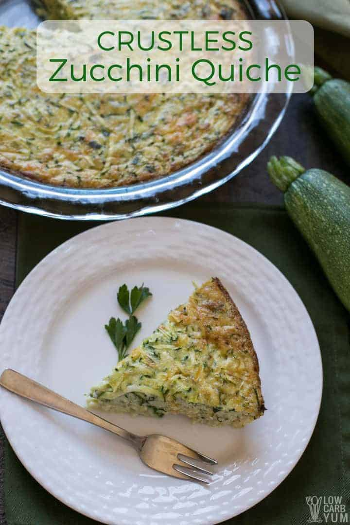 Easy crustless zucchini quiche recipe with shredded zucchini and cheese