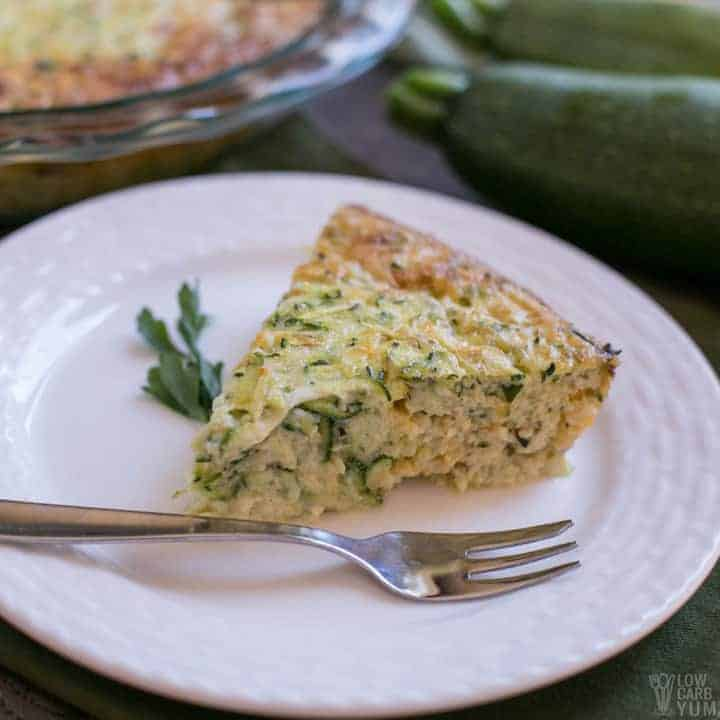 Crustless zucchini quiche slice