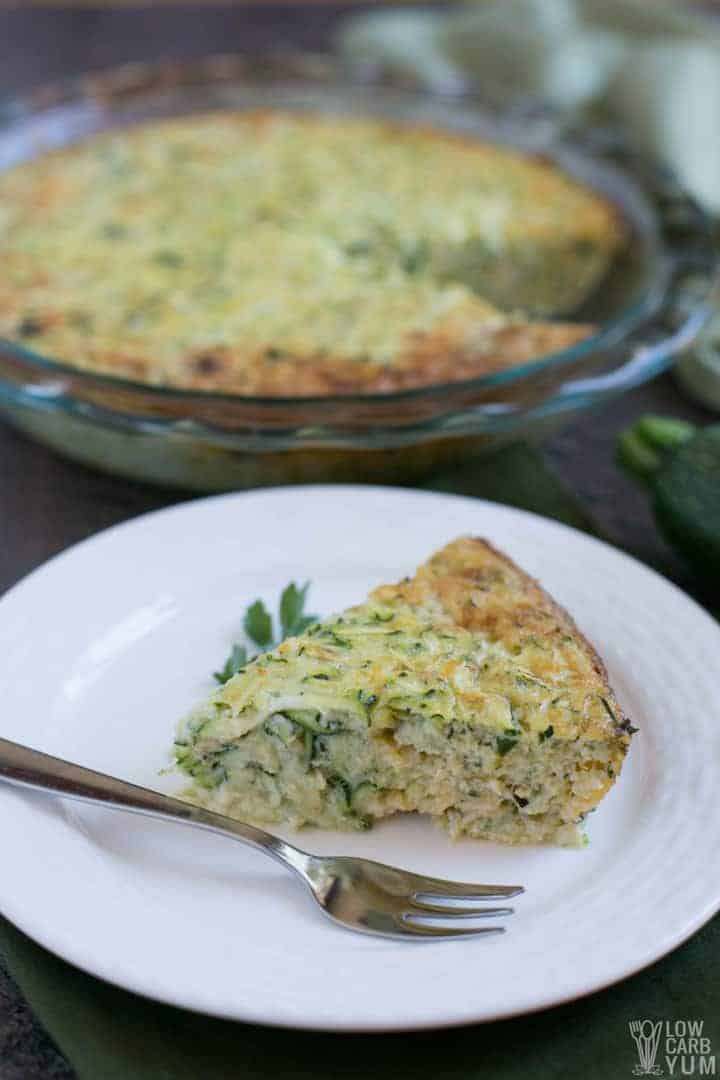Crustless zucchini quiche serving