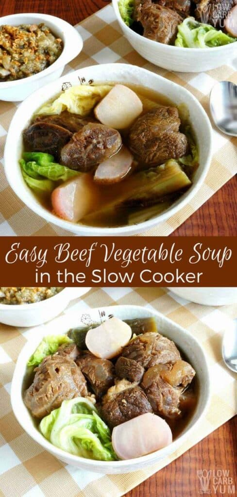 Easy vegetable beef soup recipe in slow cooker