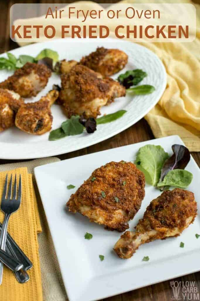 Low carb keto fried chicken in air fryer or oven with pork rinds