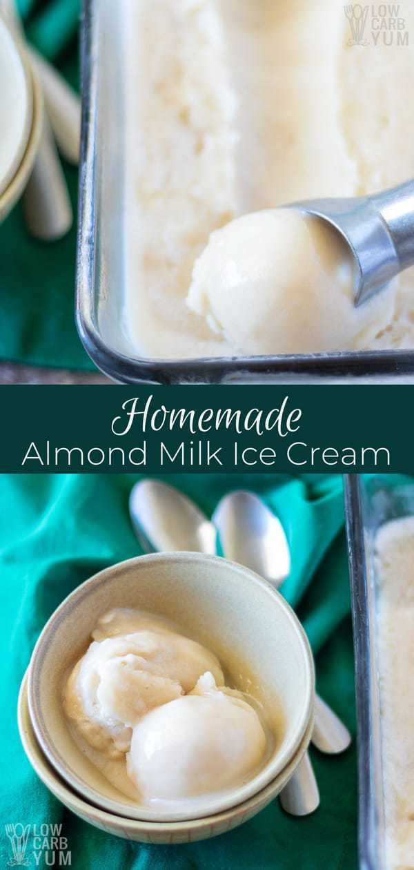 It's simple to make your own homemade almond milk ice cream with arecipe that takes just 10 minutes to prepare. And, it will produce huge smiles for a family of four.#dairyfree #almondmilk #icecream #sugarfree #lowcarb | LowCarbYum.com
