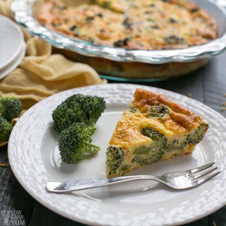 Low carb crustless broccoli cheddar quiche