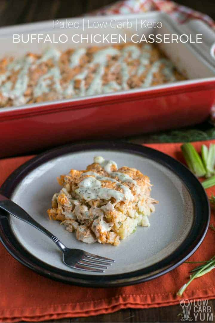 Simple low carb paleo buffalo chicken casserole with cauliflower rice