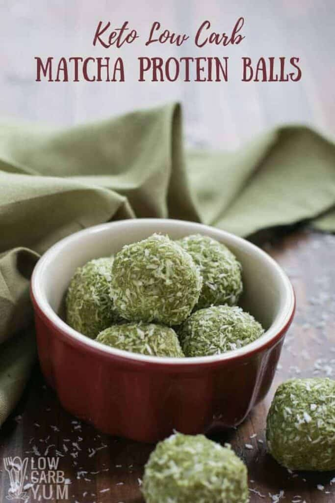 Easy matcha keto low carb protein balls recipe