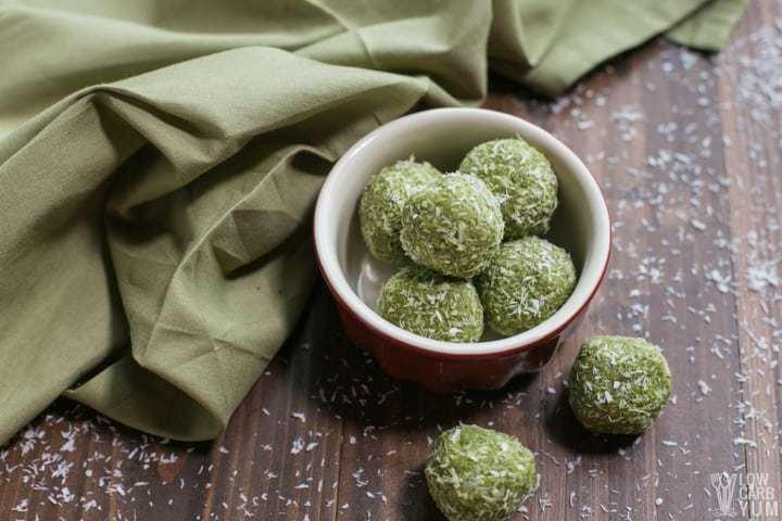 Bowl of matcha keto low carb protein balls