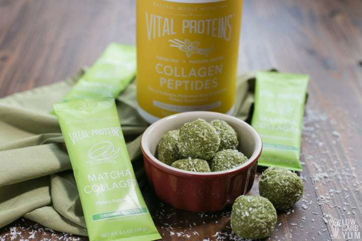 Vital Proteins matcha keto low carb protein balls