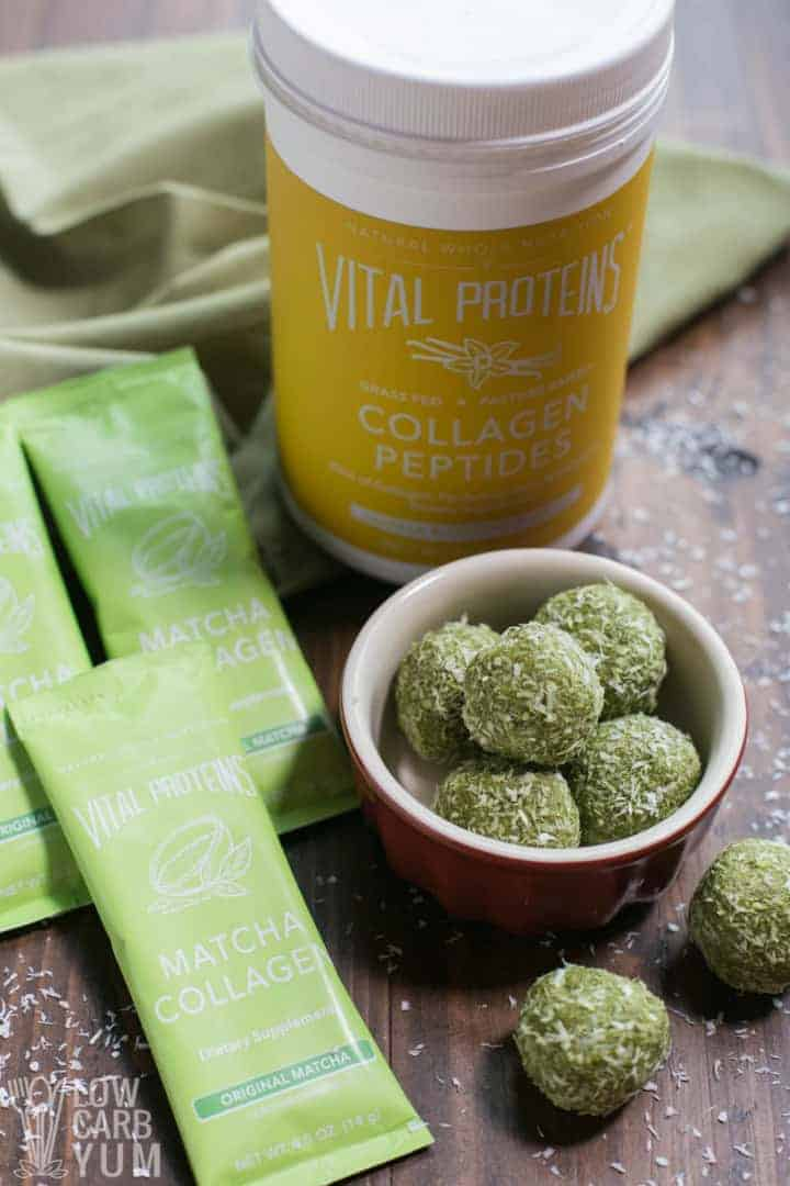 Using Vital Proteins collagen for matcha keto low carb protein balls
