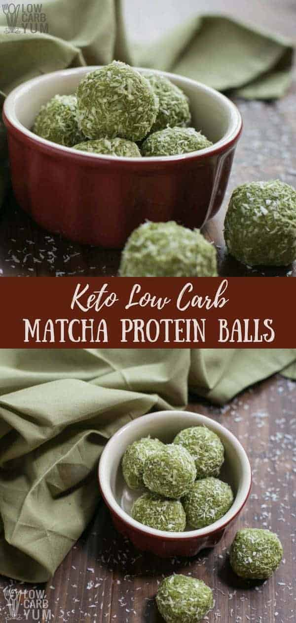 Looking for a new keto friendly snack to power you through the day? Then check out these low carb protein balls with matcha collagen.#keto #lowcarb #matcha #collagen #proteinballs   LowCarbYum.com