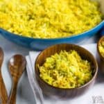 Cabbage Rice in wooden bowls and some in pan