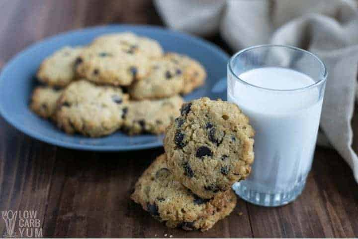 Serving coconut flour chocolate chip cookies with milk