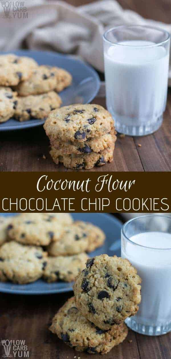 Following a keto lifestyle but can't give up cookies? No worries! You can make these easy coconut flour chocolate chip cookies and stay on plan. #lowcarb #keto #lowcarbrecipes #ketorecipes #lowcarbdesserts #ketodesserts #lowcarbcookies #ketocookies #weightwatchers #Atkins #sugarfree #glutenfree | LowCarbYum.com