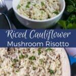 Riced cauliflower risotto recipe. #vegan #dairyfree #lowcarb #keto #weightwatchers #Atkins   LowCarbYum.com