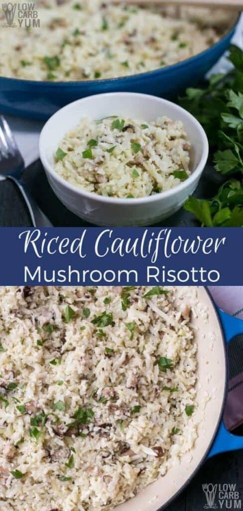 Riced cauliflower risotto recipe. #vegan #dairyfree #lowcarb #keto #weightwatchers #Atkins | LowCarbYum.com