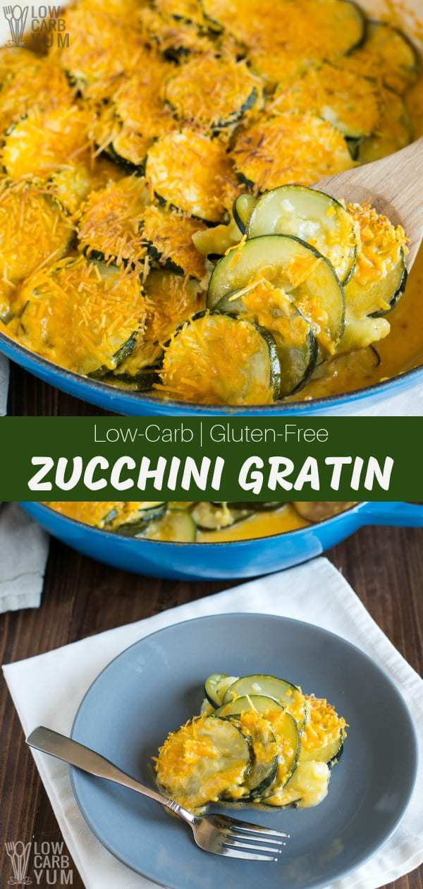 An easyzucchini gratin recipethat's keto friendly and takes just minutes to prepare. It's a healthier low carb alternative to standard au gratin recipes. #zucchini #keto #lowcarb #Atkins #weightwatchers #ketorecipes #glutenfree | LowCarbYum.com