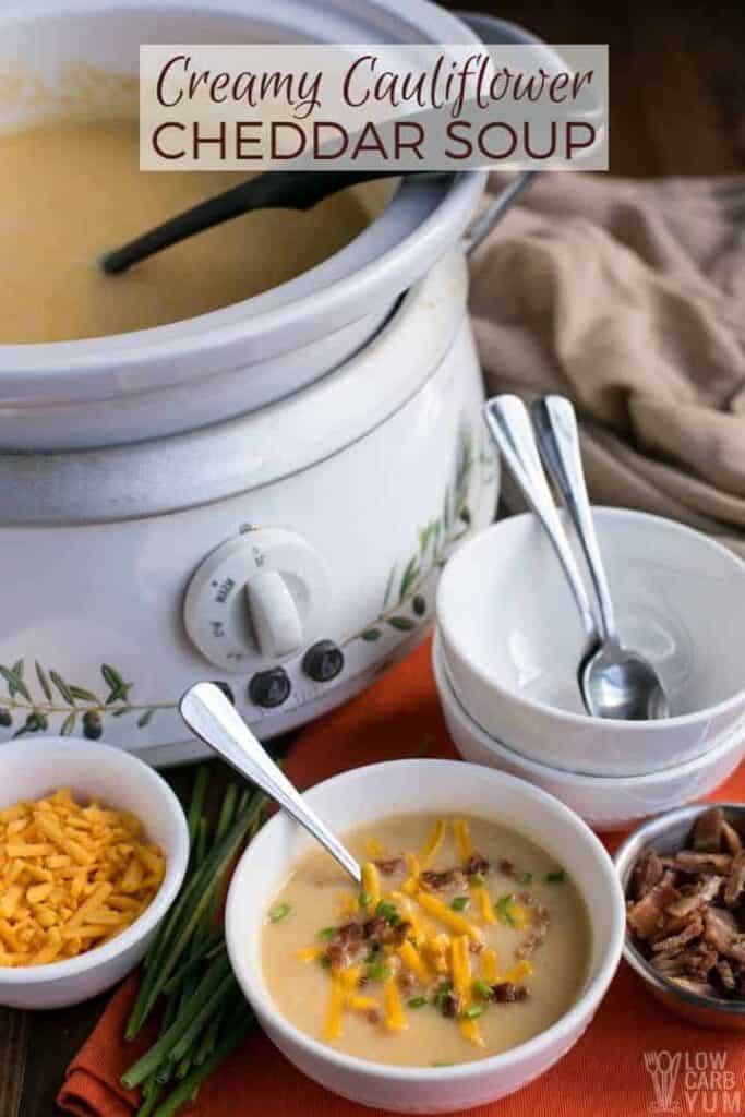 Low Carb Keto Cauliflower Cheddar Soup Recipe. #lowcarb #keto #glutenfree #grainfree #ketorecipes #ketosoup #weightwatchers #cheese #Atkins | LowCarbYum.com