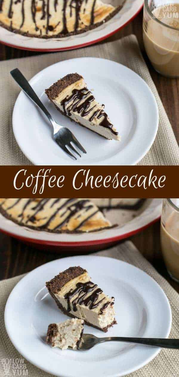A simple baked chocolate coffee cheesecake pie that's gluten-free and keto friendly. It's a classic dessert for any java lover! #ketorecipes #cheesecake #lowcarb #lowcarbdesserts #ketodesserts #Atkins | LowCarbYum.com