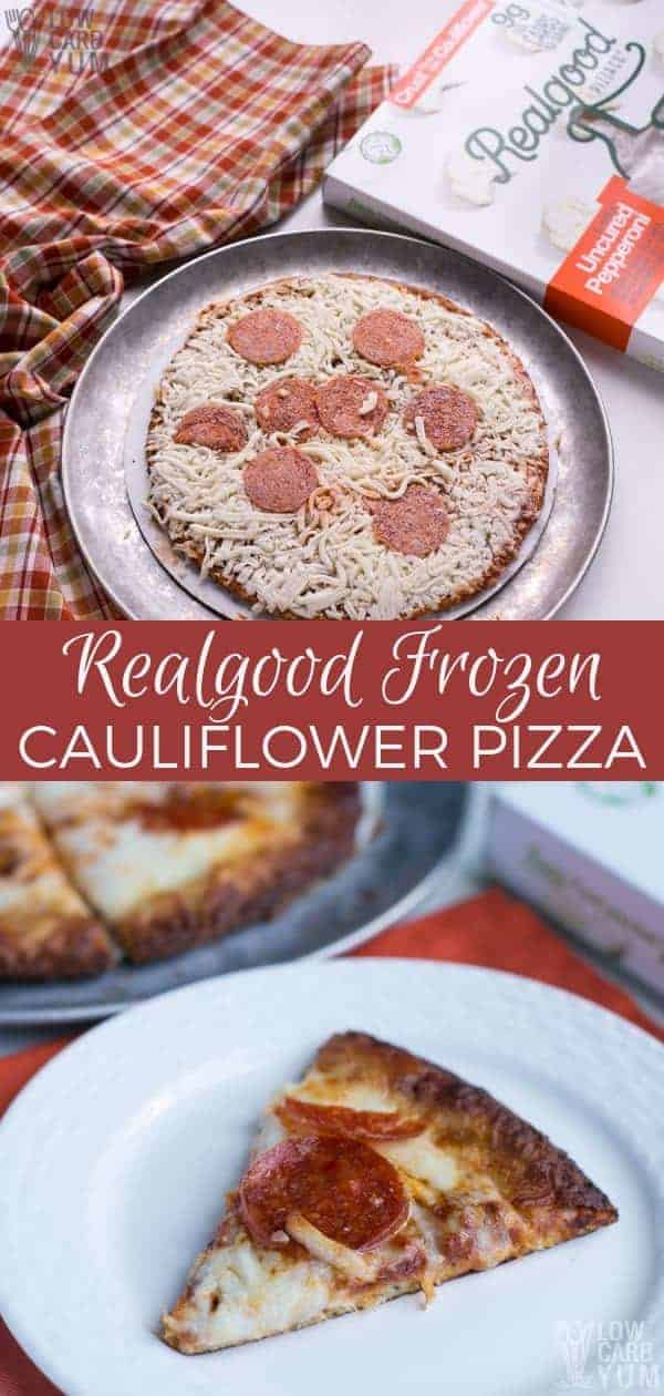 Are you looking to buy frozen cauliflower pizza crust pizzas? Take a look at the ones made by Real Good Pizza Co. They taste just like the real thing! #lowcarb #keto #ketopizza #lowcarbpizza #weightwatchers #frozenpizza #lowcarbfood #ketofood #ketodiet #ketogenic | LowCarbYum.com