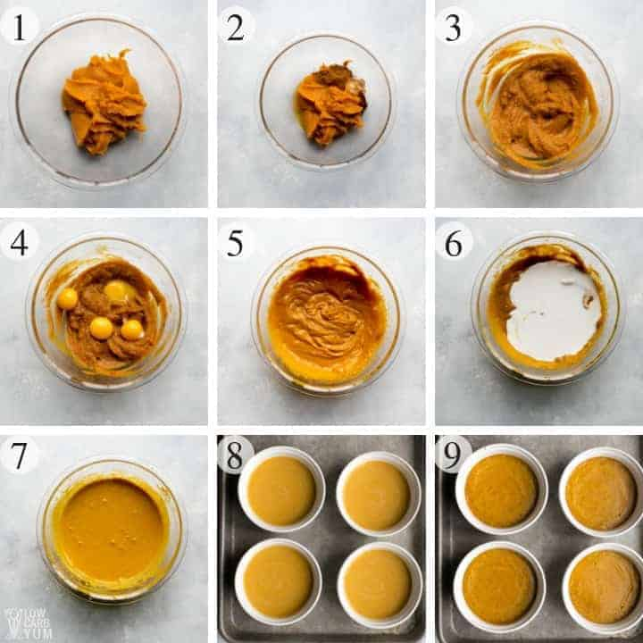 How to make a healthy paleo pumpkin custard recipe. #lowcarb #paleo #dairyfree #glutenfree #keto #ketorecipes #pumpkin #sugarfree #weightwatchers #atkins | LowCarbYum.com