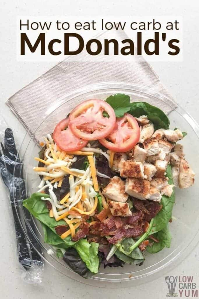 How to eat low carb at McDonald's. #lowcarb #keto #weightwatchers #Atkins #lowcarbbreakfast #lowcarblunch #ketogenicdiet #ketodiet #lowcarbdiet #diet #ketobreakfast | LowCarbYum.com