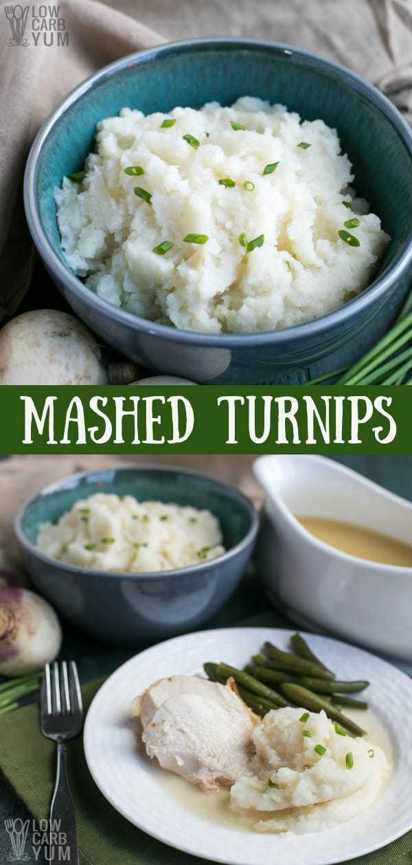Need an alternative to potatoes that's paleo, low carb, and keto friendly? Try mashed turnips which have a bit more flavor than other options. #lowcarb #keto #ketorecipes #holidayrecipes #paleo #AIP #lowcarbrecipes #ketosidedishes #lowcarbsidedishes #weightwatchers #Atkins #turnips | LowCarbYum.com