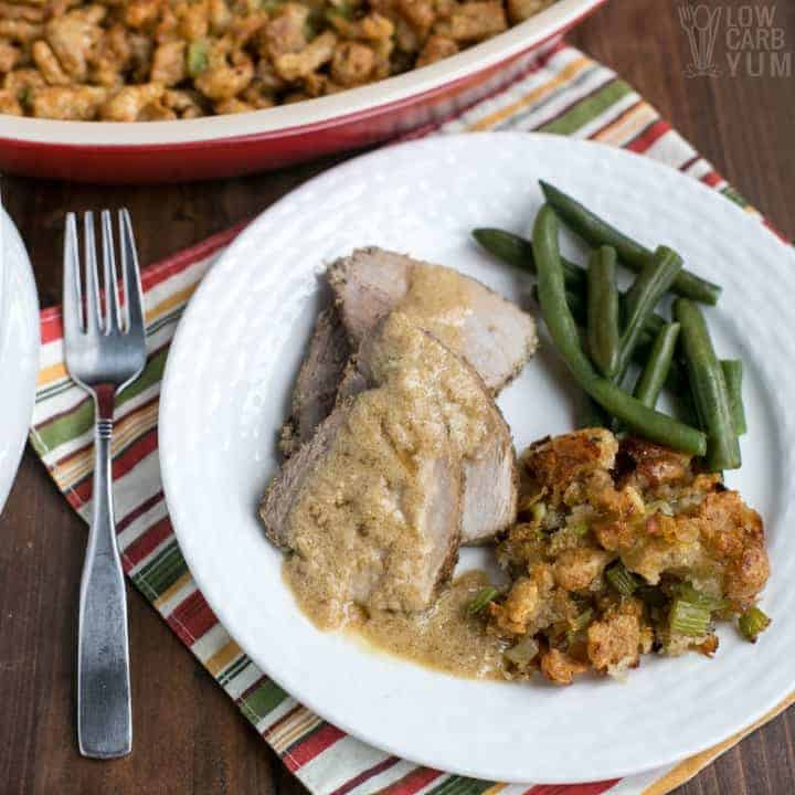 A traditional style paleo low carb stuffing made with gluten free keto pork rinds. #lowcarb #Thanksgiving #keto #ketorecipes #glutenfree #paleo #weightwatchers #SouthBeach #Atkins #stuffing | LowCarbYum.com