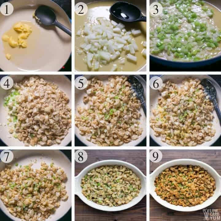 How to make a paleo low carb stuffing for a keto Thanksgiving. #lowcarb #Thanksgiving #keto #ketorecipes #glutenfree #paleo #weightwatchers #SouthBeach #Atkins #stuffing | LowCarbYum.com