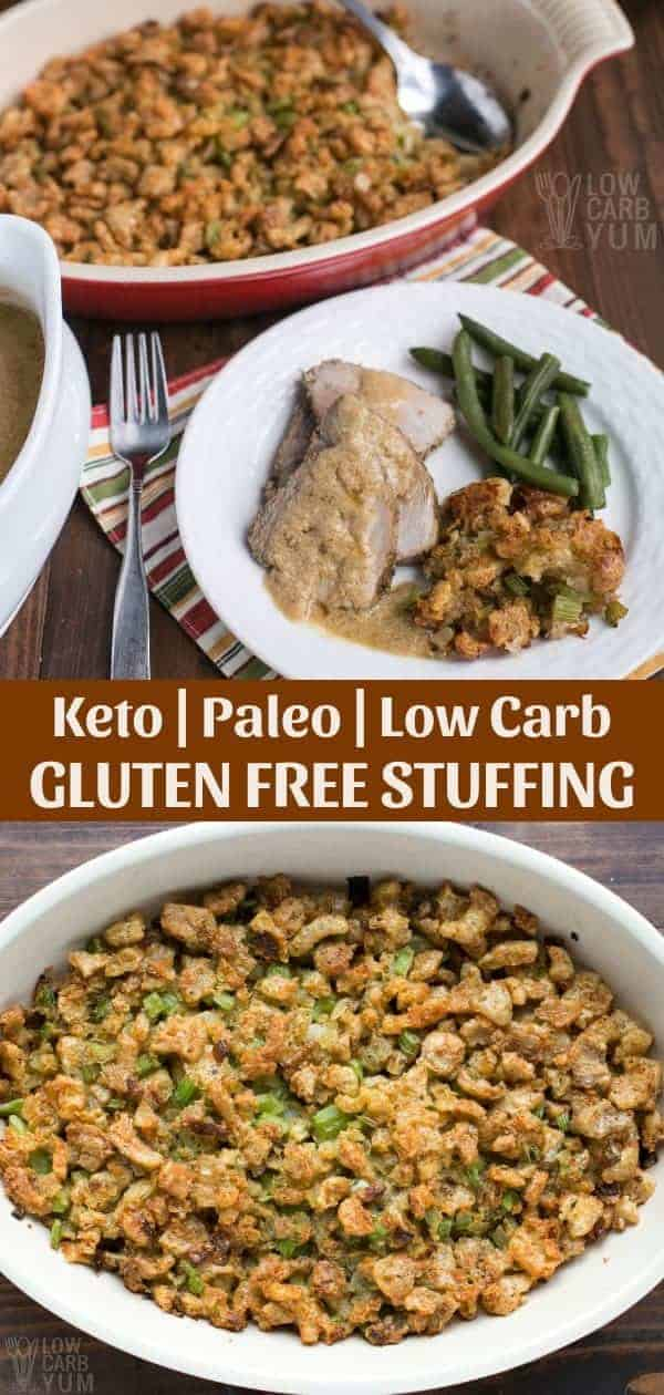 Forget the high carb stuffing! It's simple to make your own paleo low carb stuffing for poultry or to serve as a side dish using keto friendly ingredients. #lowcarb #Thanksgiving #keto #ketorecipes #glutenfree #paleo #weightwatchers #SouthBeach #Atkins #stuffing