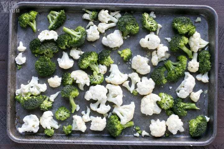 Broccoli and cauliflower in pan before roasting