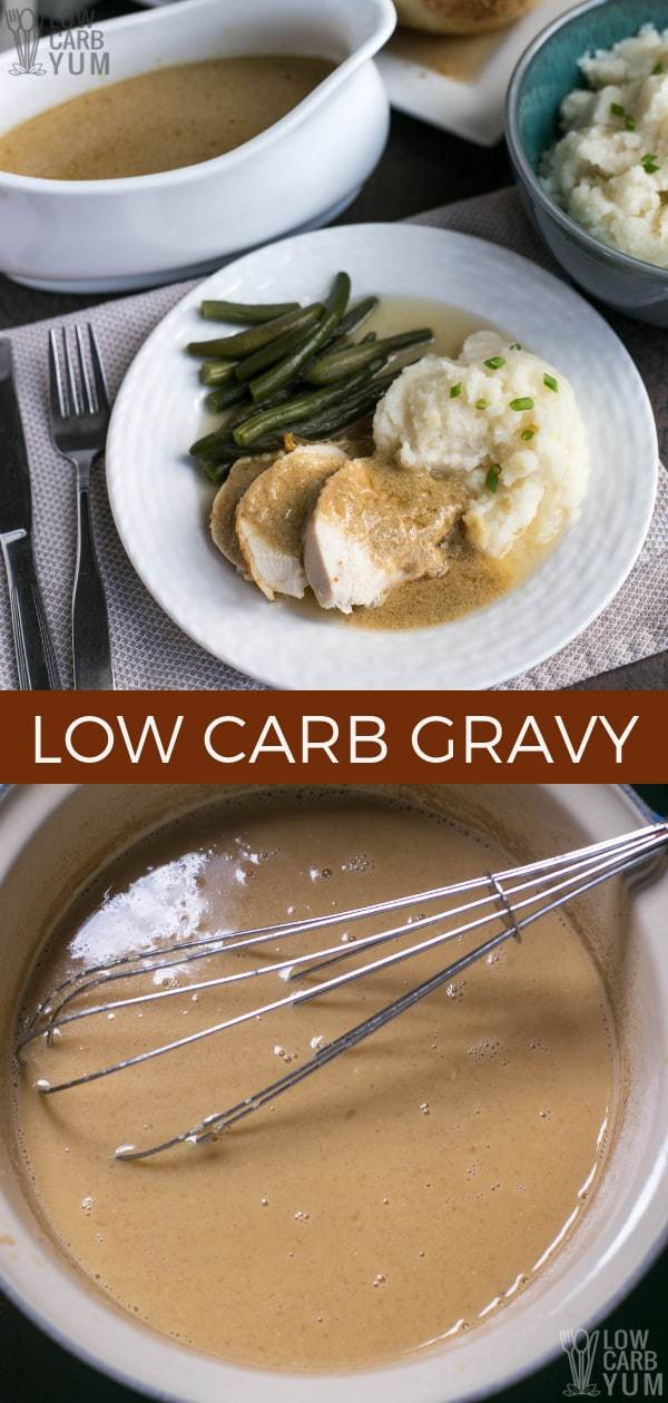 Are you looking for a low carb keto gravy recipe that doesn't use xanthan gum? Here's how to use egg yolks as a thickener for homemade gravy. #lowcarb #lowcarbmeal #lowcarbdinner #lowcarbrecipes #keto #ketorecipes #ketomeal #ketodinner #weightwatchers #Atkins #gravy #glutenfree | LowCarbYum.com